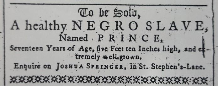 Felix Farley's Bristol Journal (Bristol), 16 de enero de 1768. Imagen: © Bristol Library, Bristol.